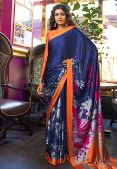 Style Array Present Blue Colored Printed Satin Japanese Crepe Saree in Best Qaulity Buy This Attractive Look Blue Colored Printed Satin Japanese Crepe Saree in Best Qaulity Simple Sarees, Trendy Sarees, Floral Print Sarees, Printed Sarees, Ethnic Dress, Indian Ethnic Wear, Indian Style, Navy Blue Saree, Crepe Saree