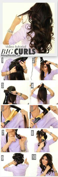 Cause we all know about Southern Ladies and Big Hair! Kim Kardashian Big Curls Tutorial for Medium Long Hair Prom Wedding Everyday Hairstyles Kim Kardashian Big Curls Tutorial My Hairstyle, Curled Hairstyles, Pretty Hairstyles, Wedding Hairstyles, Medium Hairstyle, Curly Haircuts, Easy Hairstyles, Haircut Medium, Hairdos