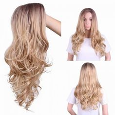 long blond curly wigs for women side parting big curve for sale Cheap Lace Front Wigs, Cheap Wigs, Synthetic Lace Front Wigs, Synthetic Wigs, Long Blond, Long Wavy Hair, Long Curly, Wigs Online, Curly Wigs