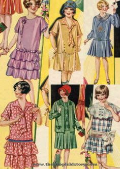 1920's children's fashion (girls)- these children's fashions are derived from women's wear. As seen, drop waist dresses with conservative necklines were quite popular.