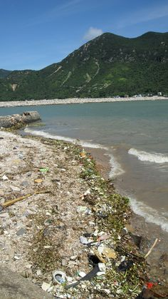 Trash on a beach in Hong Kong.