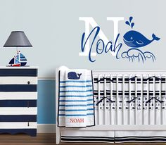 Nautical Whale Themed Personalized Name, Custom Initial Vinyl Wall Decal Sticker for Nursery or Boy's Room
