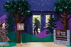 Get your school excited about the upcoming Book Fair by having your Student Crew create an entrance that brings the outdoors in and shoppers inside your Fair! Build towering trees, a starry-lit nighttime mountain landscape, and shadows of Bigfoot lurking along the trail. Fair Files keyword: BOOK FAIR ENTRANCE