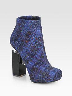 Nicholas Kirkwood Erdem Tweed-Print Cotton Ankle Boots