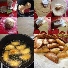 """Recette d'œuf de mulet,dit en créole guyanais """" Dizé Milé """"  la crème impériale: -1 litre de lait -1 petite boîte de lait concentré sucré - 3 sachets de crème impériale -Vanille,muscade,citron et cannelle.  pâte : -500 grammes de Farine de blé -40 centilitres d'eau -2 cuillères de Saindoux (graisse de porc) -4 cuillères à soupe de beurre -1 sachet de levure -1 cuillère à café de sel -2 cuillères à soupe de sucre Algerian Recipes, Algerian Food, Creole Recipes, Beignets, Pretzel Bites, Biscuits, Sausage, Good Food, Bread"""