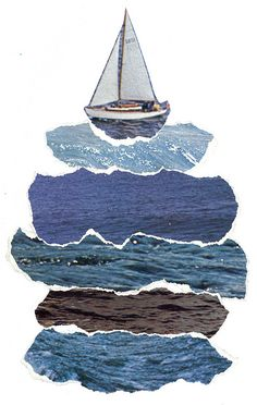 Sailing, sailing over a tower of blue sea...collage