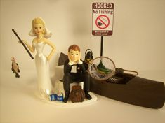 NO FISHING on Dock Bride and Groom Wedding Cake Topper Funny