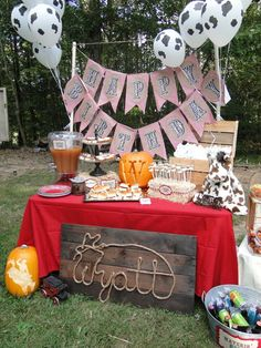 Like the fall themed cowboy party ideas Rodeo Birthday, Cowboy Birthday Party, Farm Birthday, First Birthday Parties, Birthday Party Themes, Country Birthday, Birthday Ideas, Rodeo Party, Horse Party