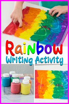 What a fun kids activity! Practice writing letters numbers sight words or just draw for fun on a rainbow! Perfect addition to literacy centers in the classroom or at home. Rainbow Activities, Early Learning Activities, Drawing Activities, Rainbow Crafts, Spring Activities, Fun Activities For Kids, Fun Learning, Preschool Activities, Preschool Kindergarten