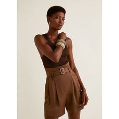 Short taille haute MANGO - inspiration patron couture short Mouffetard A&A Bermuda Shorts Outfit, Jean Court, Short Court, Short En Jean, Brown Shorts, Spring Trends, Short Outfits, Elegant, High Waisted Shorts