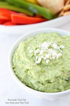 Easy Avocado Feta Dip Recipe on www.twopeasandtheirpod.com