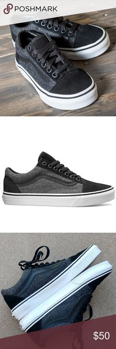 VANS Suede and Suiting Old Skool Sneaker The Suede & Suiting Old Skool, the Vans classic skate shoe and first to bare the iconic sidestripe, is a low top lace-up featuring sturdy textile and suede uppers, re-enforced toecaps to withstand repeated wear, padded collars for support and flexibility, and signature rubber waffle outsoles.  Only worn a few times.  Minor cosmetic wear, see pics. Overal great condition.  Size women's 9/men's 7.5.  No box. Vans Shoes Sneakers