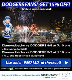 Fireworks tonight AND #AJEllis bobblehead Sunday!   #Dodgers Vs #Diamondbacks   USE THIS CODE > 959715D < TO GET 15% OFF!  http://bit.ly/1tblB5p  *Good on BV's While Supplies Last!  #Baseball #MLB #BarrysTickets #Arizona