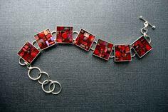Crimson Red Bracelet, Hand Made, Glass Mosaic