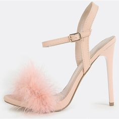SheIn(sheinside) Fluffy Feather High Heels PINK ($18) ❤ liked on Polyvore featuring shoes, pink, suede shoes, peep-toe shoes, high heel shoes, pink peep toe shoes and high heel ankle strap shoes