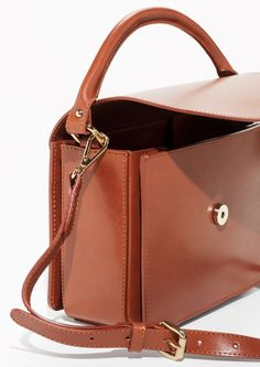 4331a0c0a1611 Other Stories image 2 of Small Boxy Bag in Brown Leather Backpack