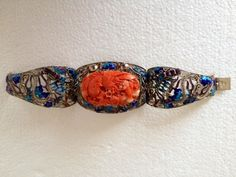 Antique Chinese Silver Filigree Enamel Carved Coral Phoenix and Dragon Bracelet