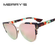 c9081e054ce MERRY S Women Designer Brand Fashion Mirror Cat Eye Metal Sunglasses S –  MustHaves Bargains Cat Eye