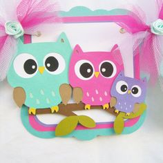 Owl baby shower banner, teal, fushia, pink, purple, lavendar, its a girl, READY TO SHIP