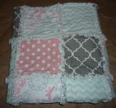 Baby/Toddler Rag Quilt - Pink, Grey, Teal, Flowers, Chevron, Polka Dot, Quatre Foil, Quilt, Nursery Quilt, Tummy Time Quilt, by Greenerbeginnings on Etsy https://www.etsy.com/listing/269610349/babytoddler-rag-quilt-pink-grey-teal