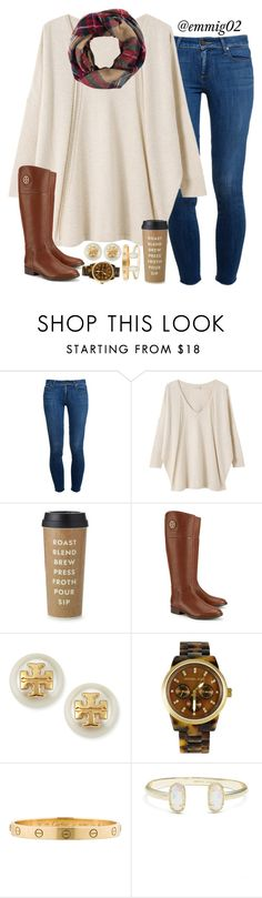 """plaid scarves and riding boots // Emily"" by southern-prep-gals ❤ liked on Polyvore featuring Paige Denim, EAST, Kate Spade, Tory Burch, Michael Kors, Cartier, Kendra Scott and Look by M"