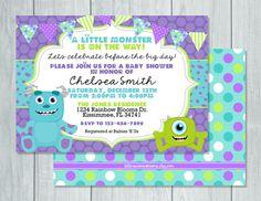 Printable Custom Monster Inc Baby Shower Invitations monster inc