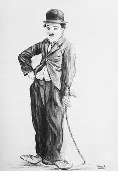 Charlie Chaplin wall art original charcoal drawing  charcoal art home decor wall decor instant download (6.00 USD) by FamilyTreasuries