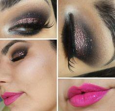 Tutorial - maquiagem poderosa com glitter rosaPausa para Feminices