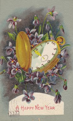 HAPPY NEW YEAR Vintage Embossed Postcard Pocket by AgnesOfBohemia, $5.99