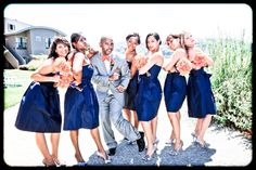 I like pictures of the groom with the bridesmaids and the bride with the groomsmen
