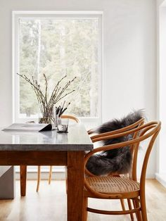 Why not to get Scandinavian style to you home? Use fur, light colors, and lots of wood. See more Scandinavian Home Design Ideas at www. Decoration Inspiration, Dining Room Inspiration, Interior Inspiration, Home Design, Interior Design, Design Ideas, Bentwood Chairs, Wicker Chairs, Room Chairs
