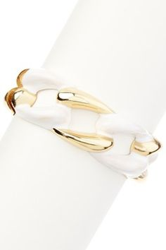 Gold & White Chain Link Hinged Bangle