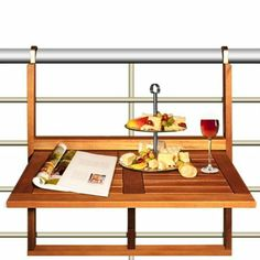 Balcony table wooden snack table acacia wood table dining furniture folding tables shelf: Amazon.co.uk: Garden & Outdoors
