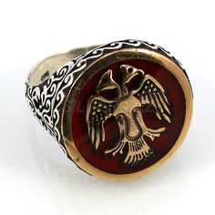 925 sterling silver man ring turkish selcuk eagle double head man red серебряные мужские кольца handmade jewell made in turkey old anatolian by SILVERSEZ on Etsy