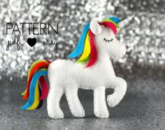 PDF felt unicorn ornament pattern Unicorn PDF by ForestFriendsShop