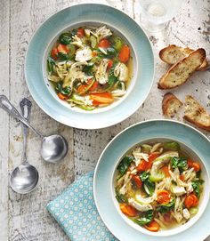 This chicken soup is sure to warm hearts and stomachs. Serve it with our easy recipe for garlic toast. Recipe: Lemony Chicken and Dill Soup
