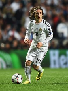 Luka Modric in action during the UEFA Champions League final match between Real Madrid CF and Club Atlético de Madrid at Estadio Da Luz on May 24, 2014 in Lisbon, Portugal.