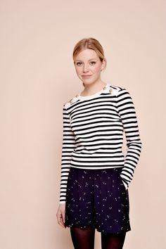 Pullover bucarest ecru/marine - 100% merino wool pullover - des petits hauts 1