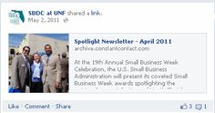 The SBDC at UNF uses Constant Contact's simple share feature to showcase the Spotlight section of the organization's newsletter, bringing client testimonials to the Facebook Page and also showing off the great content in each email.