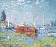 Claude Monet Argenteuil Impressionist Landscape Painting Art Poster - for sale online Edouard Manet Paintings, Renoir Paintings, Impressionist Paintings, Landscape Paintings, Impressionist Landscape, Landscape Art, Oil Paintings, Boat Painting, Painting Studio