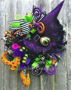 Whimsical Witch Wreath, Witch Wreath, Witch Decor, Halloween Decor, Halloween Wreath, Holiday Decor by HolidayBaublesWreath on Etsy https://www.etsy.com/listing/455813886/whimsical-witch-wreath-witch-wreath