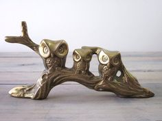 Vintage Brass Owls Sitting on Tree Figurine by 22BayRoad on Etsy, $20.00