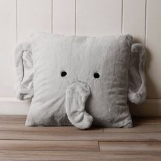 Product Image for Décor Innovation Faux Fur Elephant Square Throw Pillow in Grey 3 out of 4