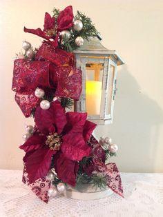 "17"" high pedestal lantern , burgundy  points & bow, cream berries ,4"" candle .2016.    L139. $65.00"