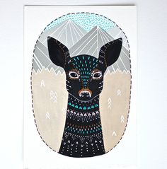 Deer Illustration Painting  Large Archival Print  by RiverLuna, $40.00
