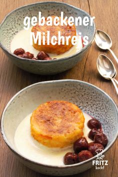 So könnt ihr Reste von Milchreis verarbeiten. Aber es schmeckt so lecker, dass … So you can process remains of milk rice. But it tastes so delicious that it is also worth cooking extra rice pudding for this recipe 🙂 Low Carb Breakfast Casserole, Low Carb Breakfast Easy, Low Carb Dinner Recipes, Low Carb Desserts, Bon Dessert, Dessert Recipes, Quick Easy Desserts, Feta, Food And Drink