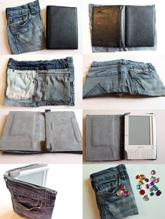 punk projects: DIY No-Sew Recycled Jeans Kindle Cozy