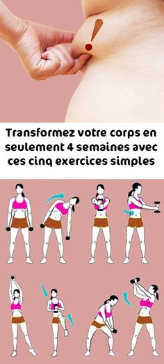 Transformez votre corps en seulement 4 semaines avec ces cinq exercices simples Transform your body in just 4 weeks with these five simple exercises Fitness Herausforderungen, Fitness Motivation, Health Fitness, Easy Workouts, At Home Workouts, Fitness Exercises At Home, Abdominal Exercises, Abdominal Workout, Body Exercises
