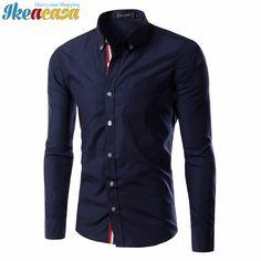 Men Shirt 2017 Autumn New Brand Business Men'S Slim Fit Dress Shirt Male Long Sleeves Casual Shirt Camisa Masculina Size M-3XL
