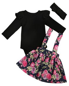 Flower Girl Romper Infant Baby Tops Tutu Skirt Kids Outfit Set Toddler Children Girls Floral Skirts Solid <font><b>Yop</b></font> Clothing Set Girls Fall Outfits, Cute Baby Girl Outfits, Baby Girl Romper, Top Y Pollera, Baby Girl Fall, Baby Girls, Black Long Sleeve Romper, Black Romper, Long Romper
